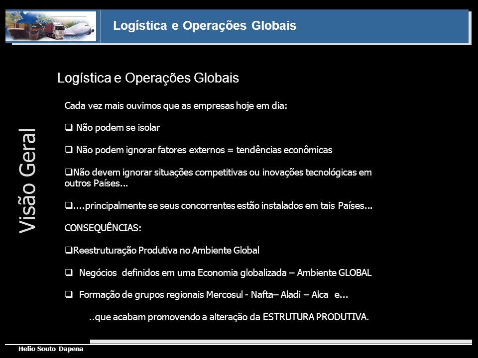 Logística e Operações Globais Helio Souto Dapena Princípios da Gestão de Logística e das Operações Globais Logística e fluxos globais 04 FORÇAS PODEM SER CITADAS COMO REGULADORAS DOS AMBIENTES DE NEGÓCIOS: Integração geográfica (da logística local para a global) Gestão das operações e logística globais Integração setorial (da logística por setor para a entre setores) Integração funcional (da logística função para a fluxos)