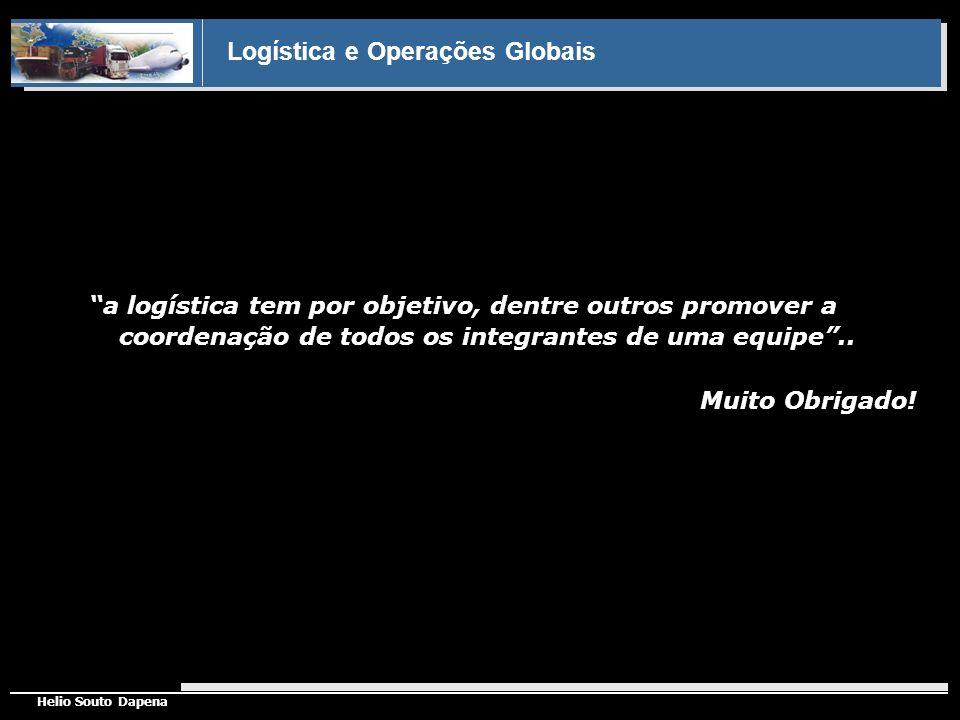 Logística e Operações Globais Helio Souto Dapena a logística tem por objetivo, dentre outros promover a coordenação de todos os integrantes de uma equ