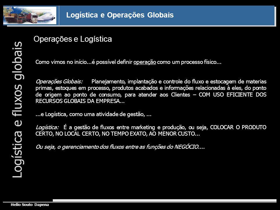 Logística e Operações Globais Helio Souto Dapena Operações e Logística Logística e fluxos globais Como vimos no início...é possível definir operação c