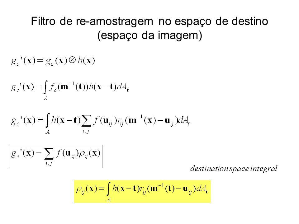 Filtro de re-amostragem no espaço de destino (espaço da imagem) destination space integral