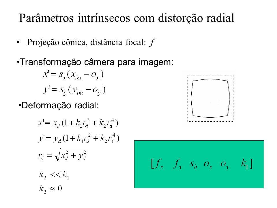 Parâmetros intrínsecos com distorção radial Projeção cônica, distância focal: f Transformação câmera para imagem: Deformação radial: