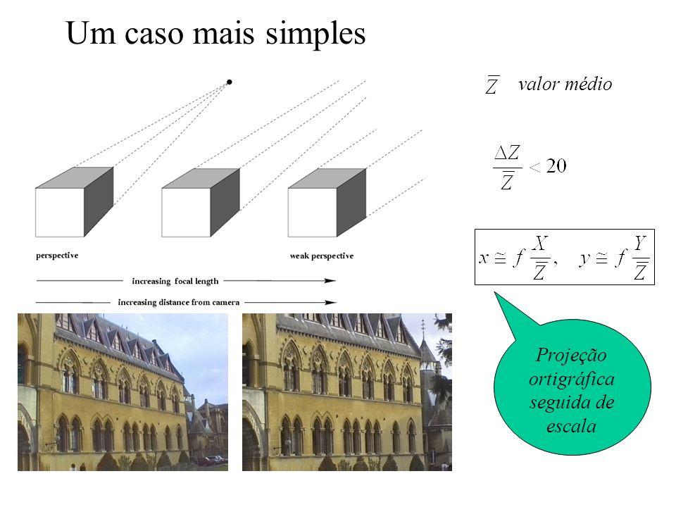 Um caso mais simples valor médio Projeção ortigráfica seguida de escala