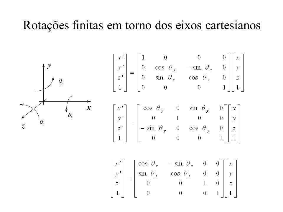 Rotações finitas em torno dos eixos cartesianos x y z x y z