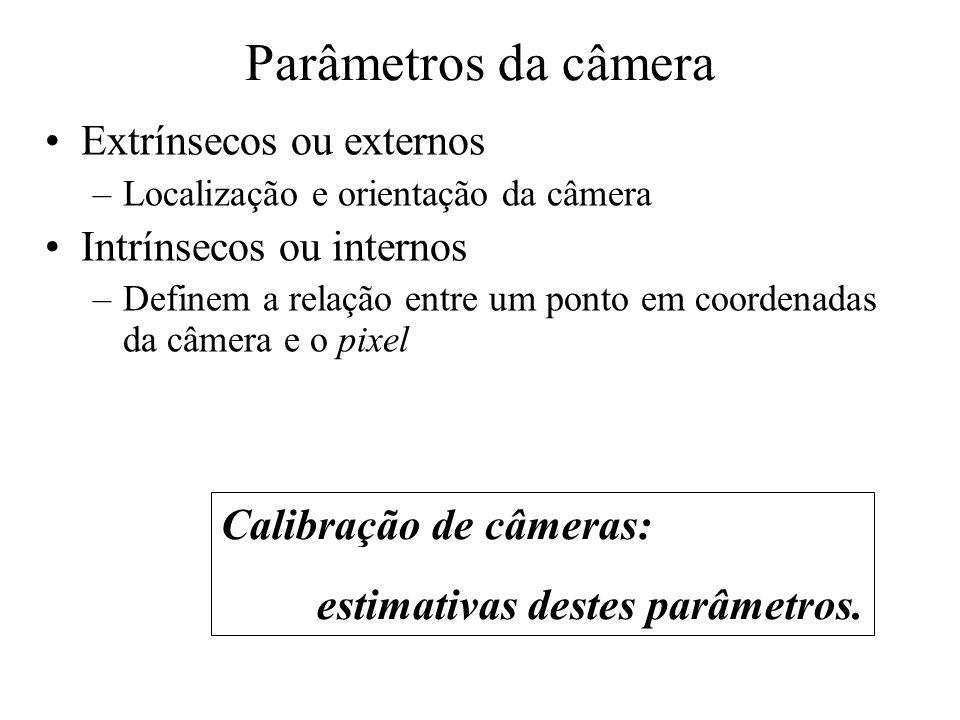 Parâmetros da câmera Extrínsecos ou externos –Localização e orientação da câmera Intrínsecos ou internos –Definem a relação entre um ponto em coordena