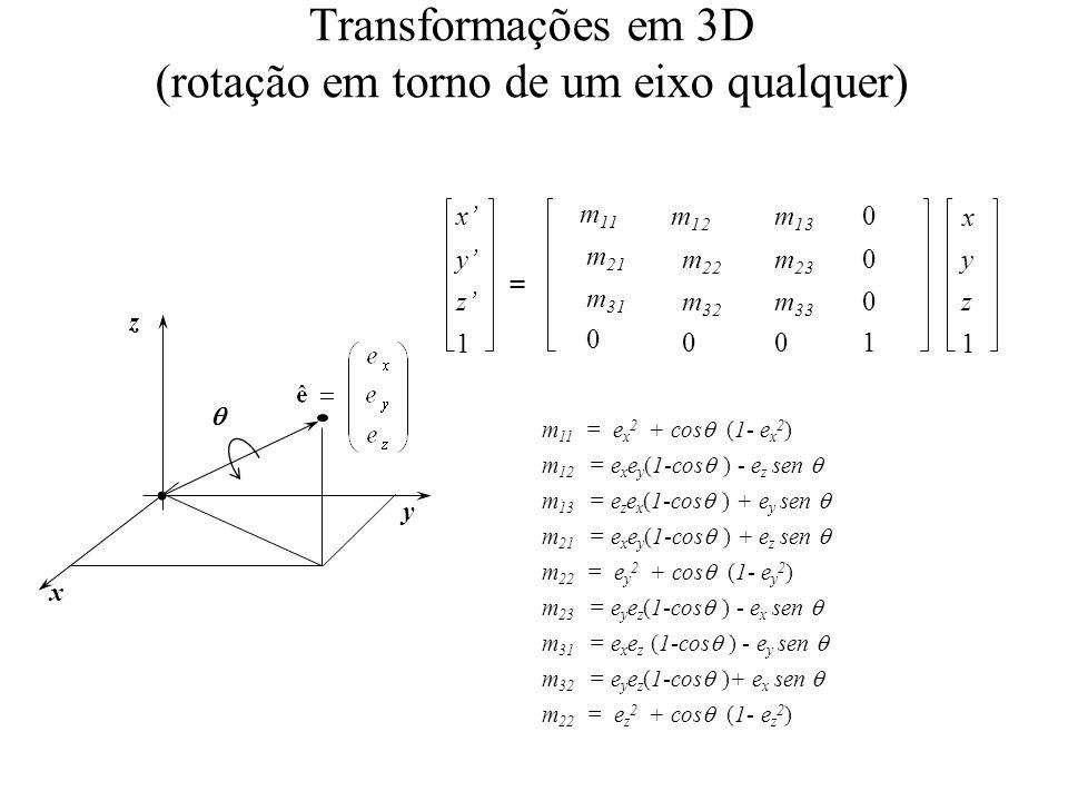 Transformações em 3D (rotação em torno de um eixo qualquer) x y z 1 m 12 m 22 m 32 0 m 13 m 23 m 33 0 0 0 0 1 y z 1 x = m 11 m 21 m 31 0 x y z m 11 =