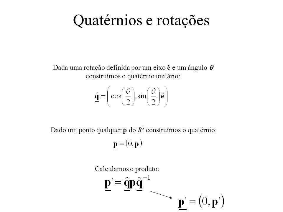 Quatérnios e rotações Dada uma rotação definida por um eixo ê e um ângulo construímos o quatérnio unitário: Dado um ponto qualquer p do R 3 construímo