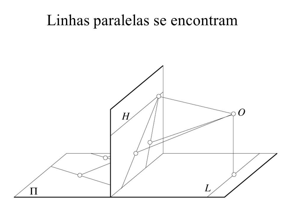 Transformações em 3D (rotação em torno de um eixo qualquer) x y z 1 m 12 m 22 m 32 0 m 13 m 23 m 33 0 0 0 0 1 y z 1 x = m 11 m 21 m 31 0 x y z m 11 = e x 2 + cos (1- e x 2 ) m 12 = e x e y (1-cos ) - e z sen m 13 = e z e x (1-cos ) + e y sen m 21 = e x e y (1-cos ) + e z sen m 22 = e y 2 + cos (1- e y 2 ) m 23 = e y e z (1-cos ) - e x sen m 31 = e x e z (1-cos ) - e y sen m 32 = e y e z (1-cos )+ e x sen m 22 = e z 2 + cos (1- e z 2 )