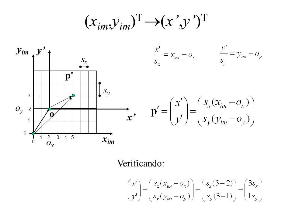 (x im,y im ) T (x,y) T x im y im x y 0 1 34 1 2 0 3 2 sxsx sysy p' o oyoy oxox 5 Verificando: