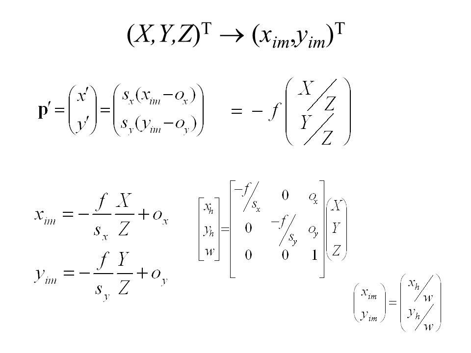 (X,Y,Z) T (x im,y im ) T
