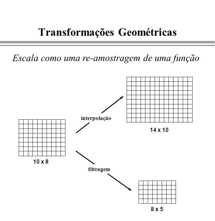 Transformações Geométricas 10 x 8 14 x 10 8 x 5 interpolação filtragem Escala como uma re-amostragem de uma função