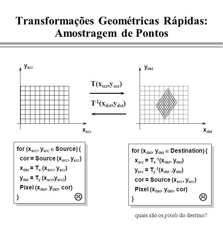 Transformações Geométricas Rápidas: Amostragem de Pontos T(x scr,y scr ) T -1 (x dst,y dst ) x scr y scr x dst y dst for (x src, y src Source) { cor =