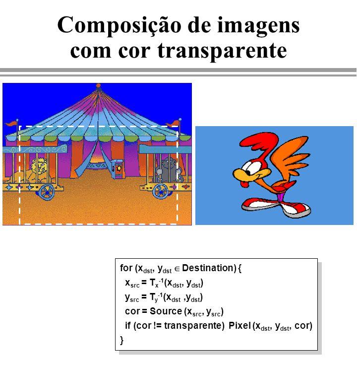 Composição de imagens com cor transparente for (x dst, y dst Destination) { x src = T x -1 (x dst, y dst ) y src = T y -1 (x dst,y dst ) cor = Source