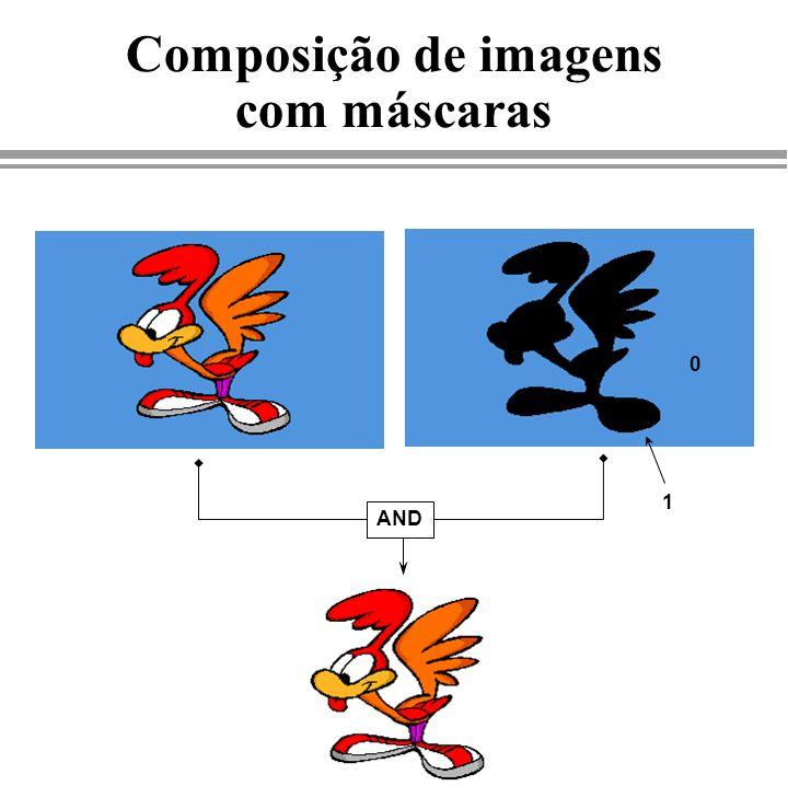 Composição de imagens com máscaras 0 1 AND