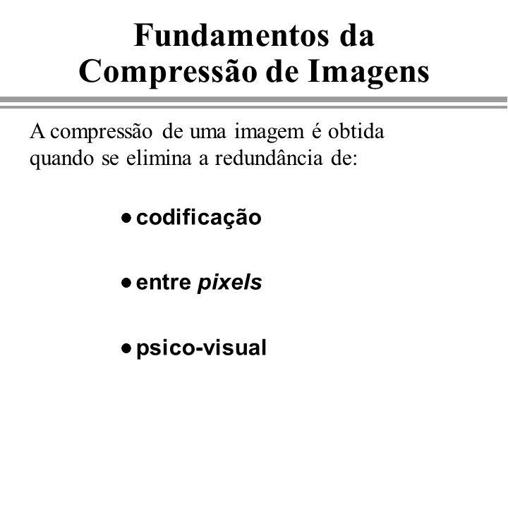 Fundamentos da Compressão de Imagens l codificação l entre pixels l psico-visual A compressão de uma imagem é obtida quando se elimina a redundância d