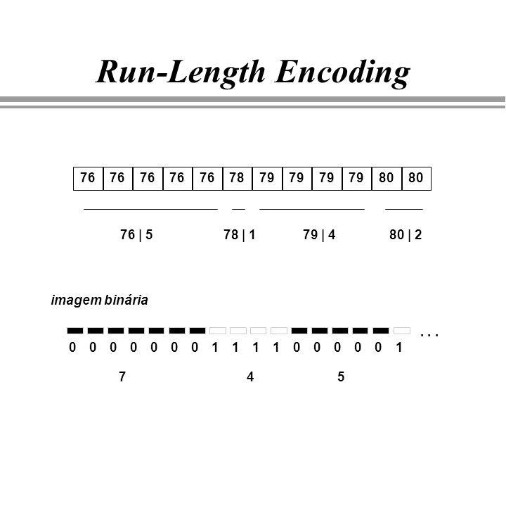 Run-Length Encoding 76 7879 80 76 | 578 | 179 | 480 | 2 imagem binária 0000000111100000 74 1... 5