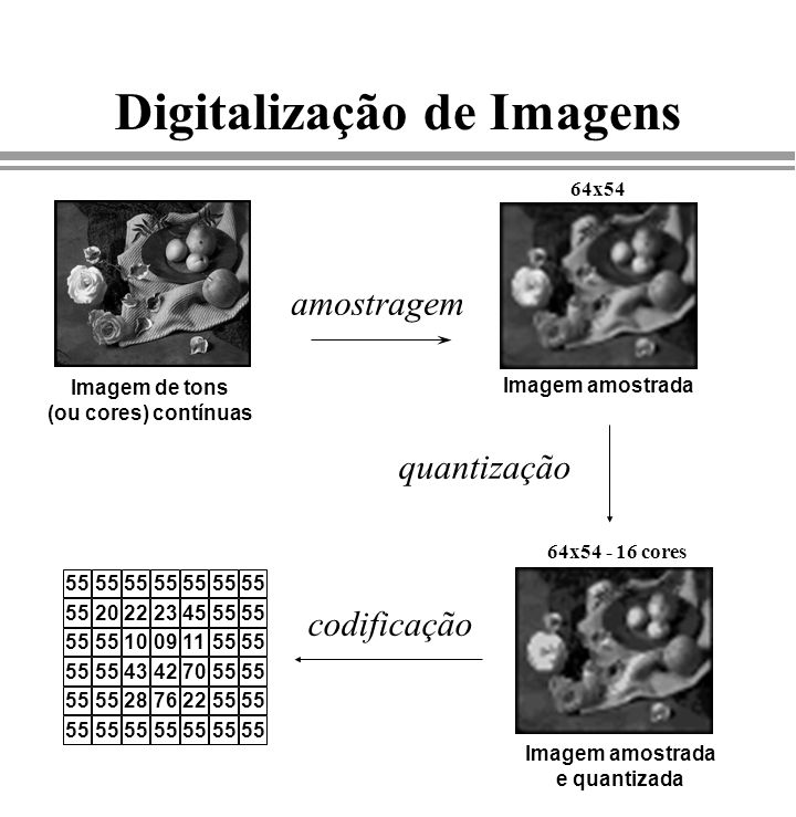 Digitalização de Imagens amostragem Imagem de tons (ou cores) contínuas Imagem amostrada e quantizada 55 2022234555 10091155 43427055 28762255 quantiz