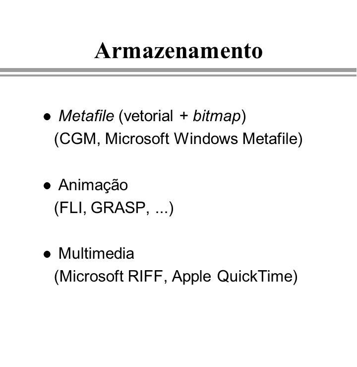 Armazenamento l Metafile (vetorial + bitmap) (CGM, Microsoft Windows Metafile) l Animação (FLI, GRASP,...) l Multimedia (Microsoft RIFF, Apple QuickTi