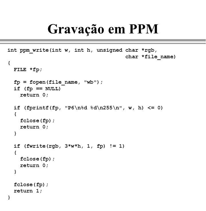 Gravação em PPM int ppm_write(int w, int h, unsigned char *rgb, char *file_name) { FILE *fp; fp = fopen(file_name,
