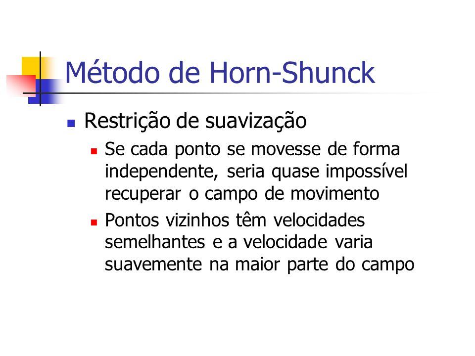 Método de Horn-Shunck Restrição de suavização Se cada ponto se movesse de forma independente, seria quase impossível recuperar o campo de movimento Po