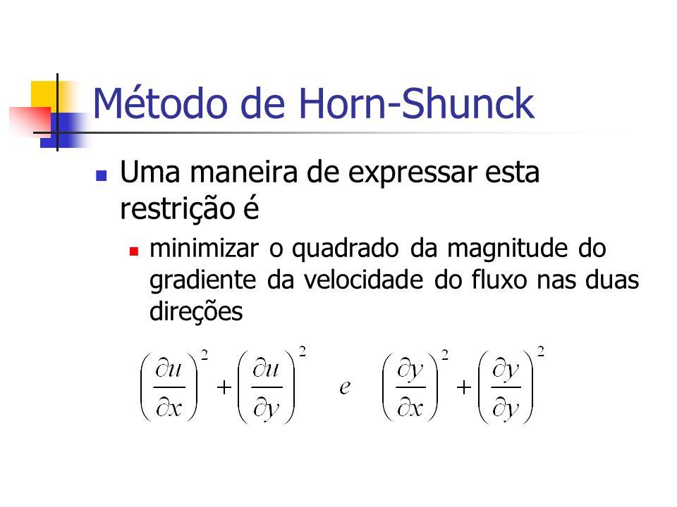 Método de Horn-Shunck Uma maneira de expressar esta restrição é minimizar o quadrado da magnitude do gradiente da velocidade do fluxo nas duas direçõe