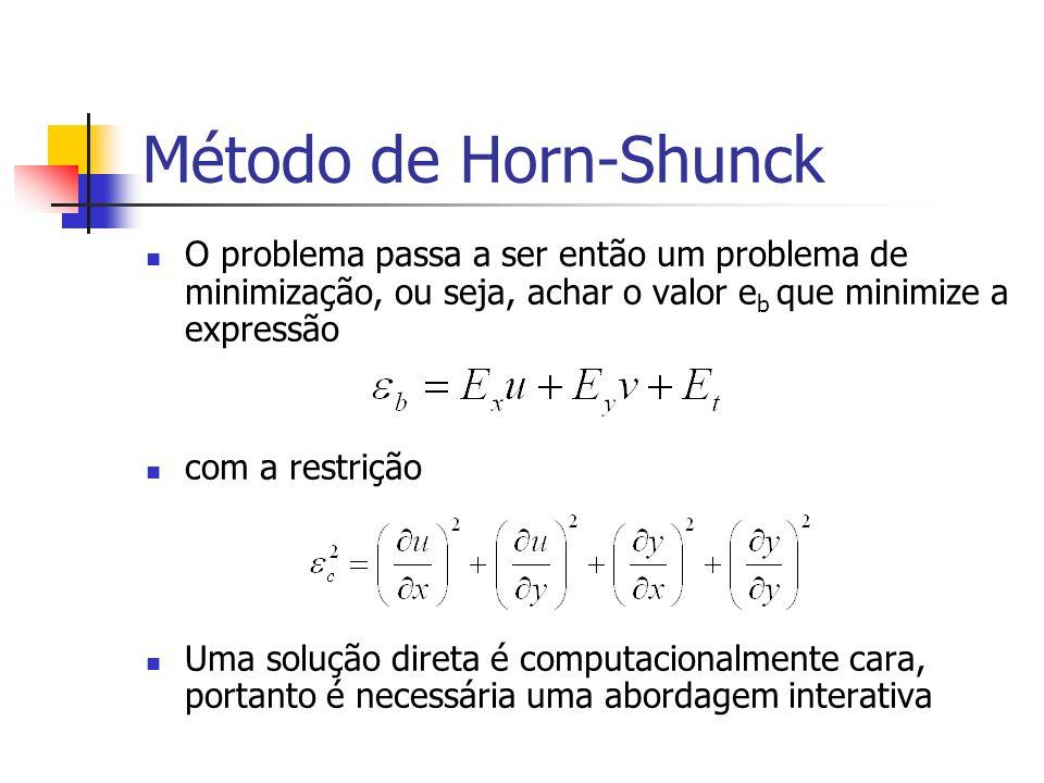 Método de Horn-Shunck O problema passa a ser então um problema de minimização, ou seja, achar o valor e b que minimize a expressão com a restrição Uma