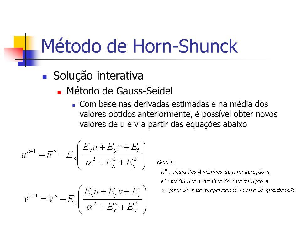 Método de Horn-Shunck Solução interativa Método de Gauss-Seidel Com base nas derivadas estimadas e na média dos valores obtidos anteriormente, é possí