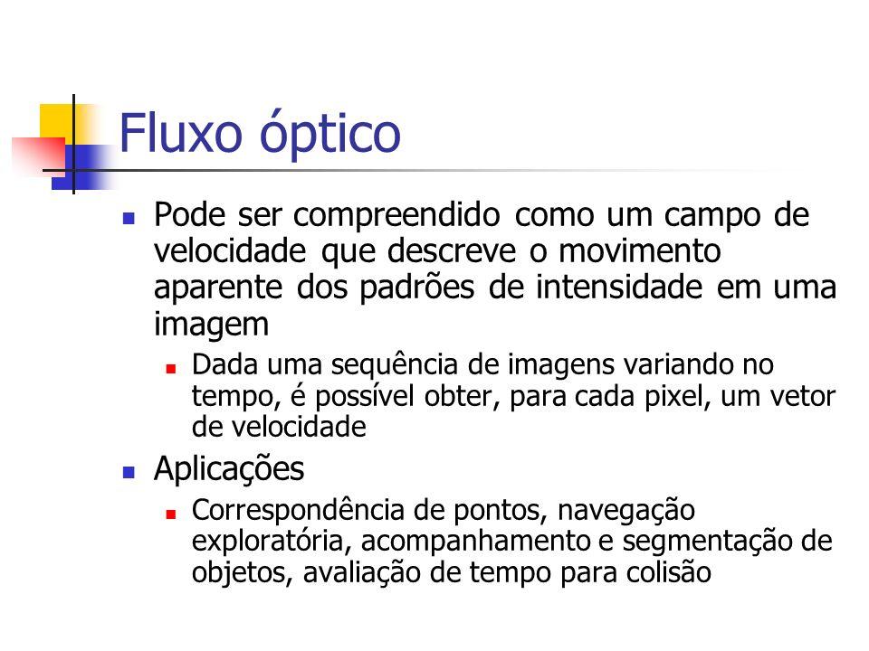 Fluxo óptico Pode ser compreendido como um campo de velocidade que descreve o movimento aparente dos padrões de intensidade em uma imagem Dada uma seq