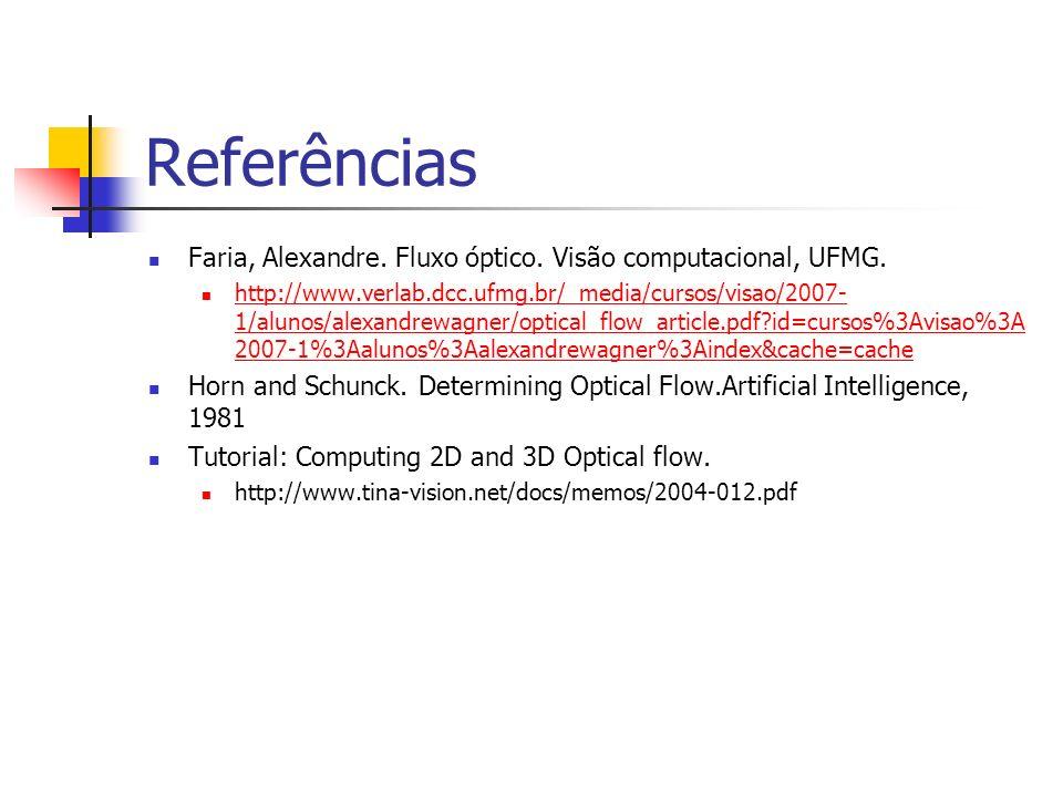 Referências Faria, Alexandre. Fluxo óptico. Visão computacional, UFMG. http://www.verlab.dcc.ufmg.br/_media/cursos/visao/2007- 1/alunos/alexandrewagne