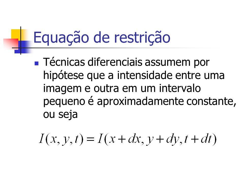 Equação de restrição Técnicas diferenciais assumem por hipótese que a intensidade entre uma imagem e outra em um intervalo pequeno é aproximadamente c