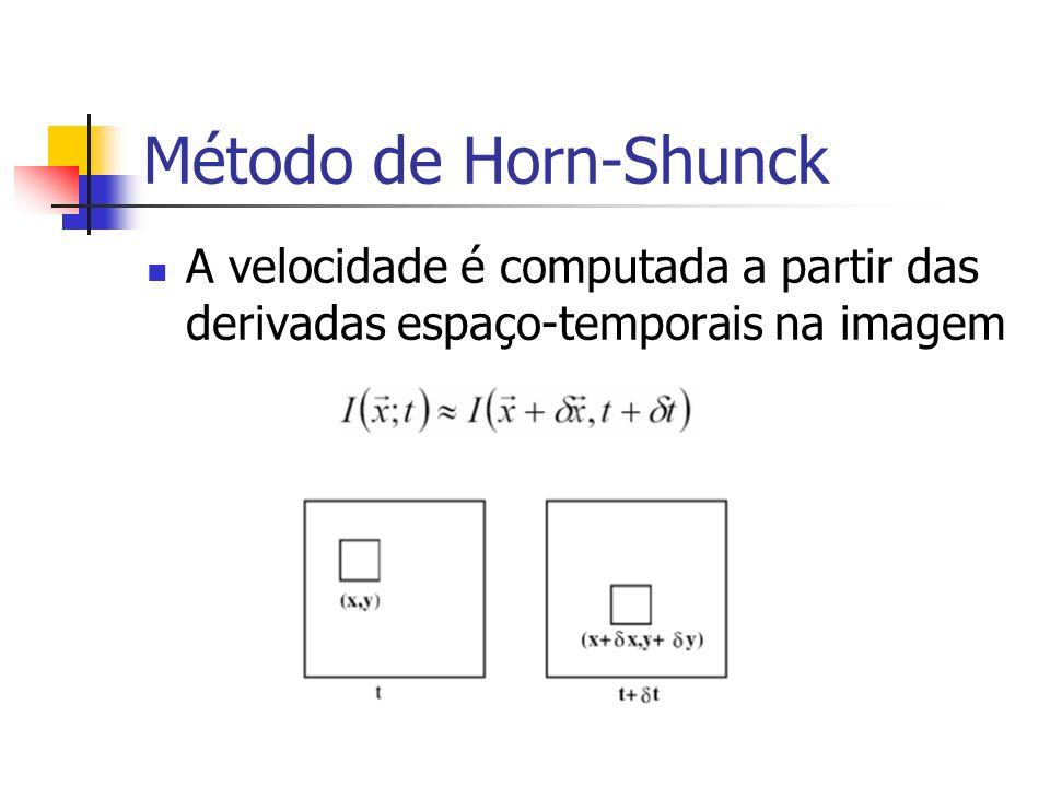 Método de Horn-Shunck A velocidade é computada a partir das derivadas espaço-temporais na imagem