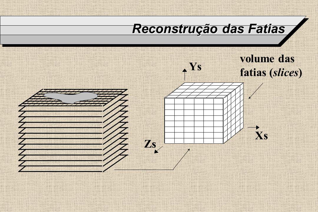 Reconstrução das Fatias Zs Ys Xs volume das fatias (slices)
