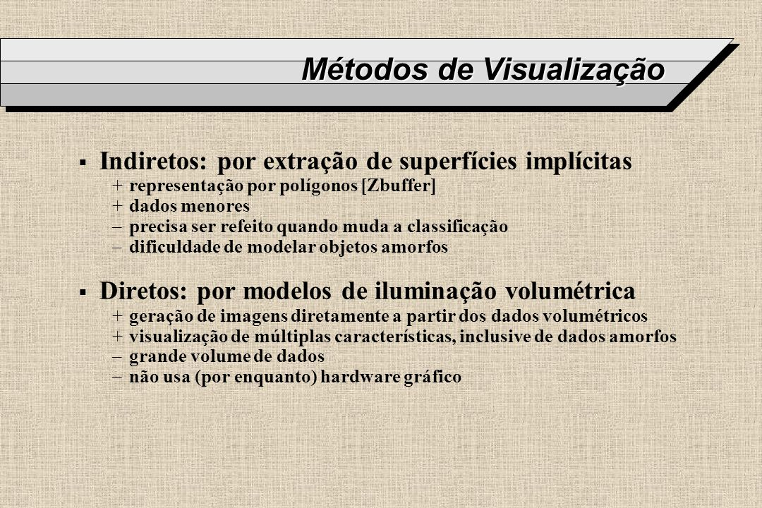 Métodos de Visualização Indiretos: por extração de superfícies implícitas +representação por polígonos [Zbuffer] +dados menores –precisa ser refeito q
