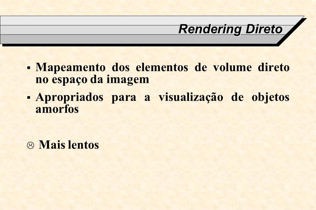 Rendering Direto Mapeamento dos elementos de volume direto no espaço da imagem Apropriados para a visualização de objetos amorfos Mais lentos