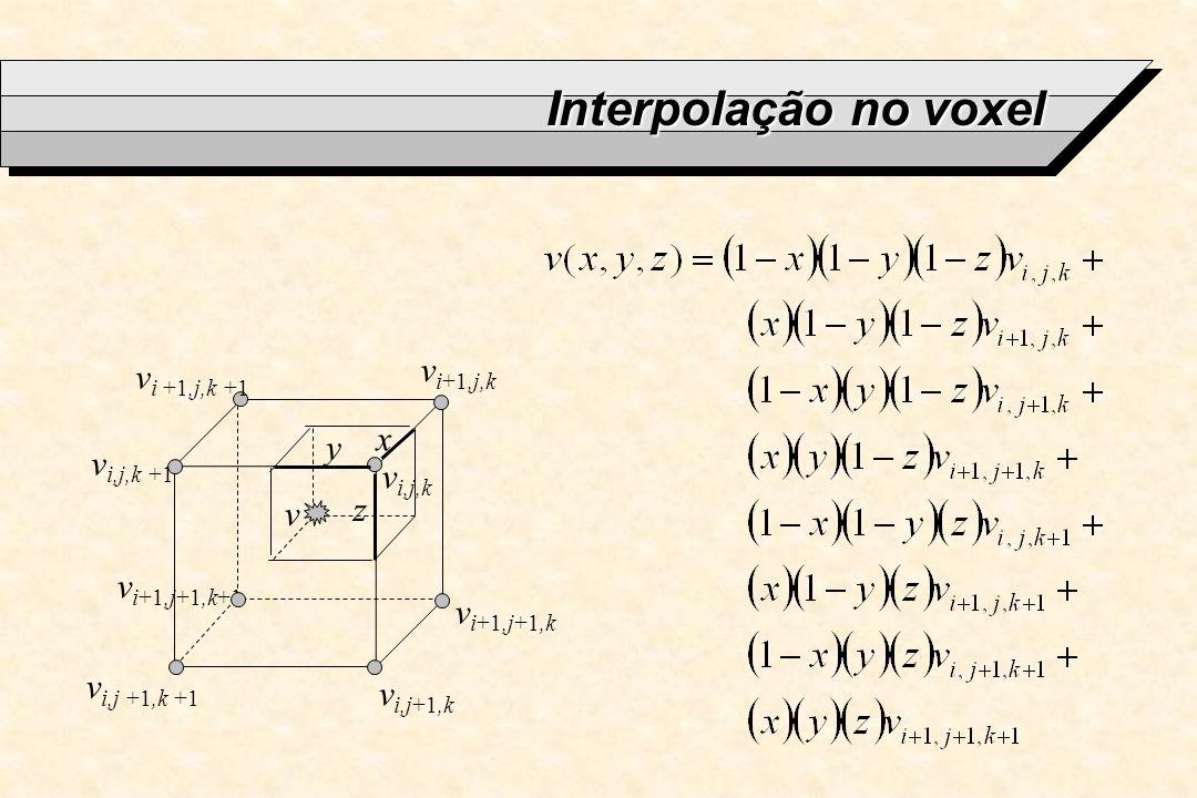 Interpolação no voxel v i+1,j+1,k+1 v i,j,k v i+1,j,k v i,j+1,k v i,j,k +1 v i +1,j,k +1 v i,j +1,k +1 v i+1,j+1,k x y z v