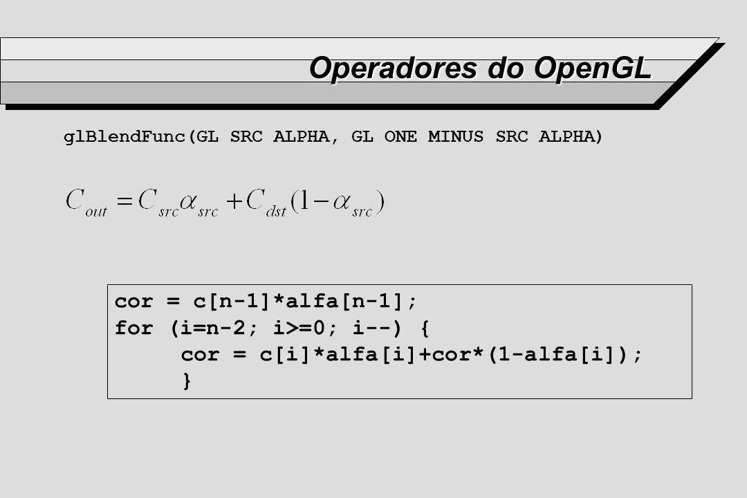 Operadores do OpenGL glBlendFunc(GL SRC ALPHA, GL ONE MINUS SRC ALPHA) cor = c[n-1]*alfa[n-1]; for (i=n-2; i>=0; i--) { cor = c[i]*alfa[i]+cor*(1-alfa