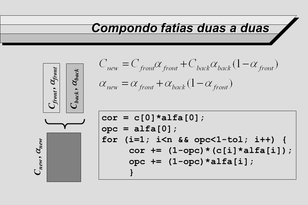 Compondo fatias duas a duas C back, back C front, front C new, new cor = c[0]*alfa[0]; opc = alfa[0]; for (i=1; i<n && opc<1-tol; i++) { cor += (1-opc