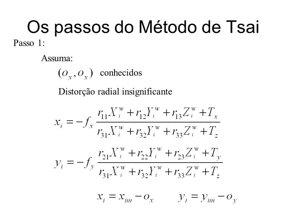 Os passos do Método de Tsai Passo 1: conhecidos Distorção radial insignificante Assuma: