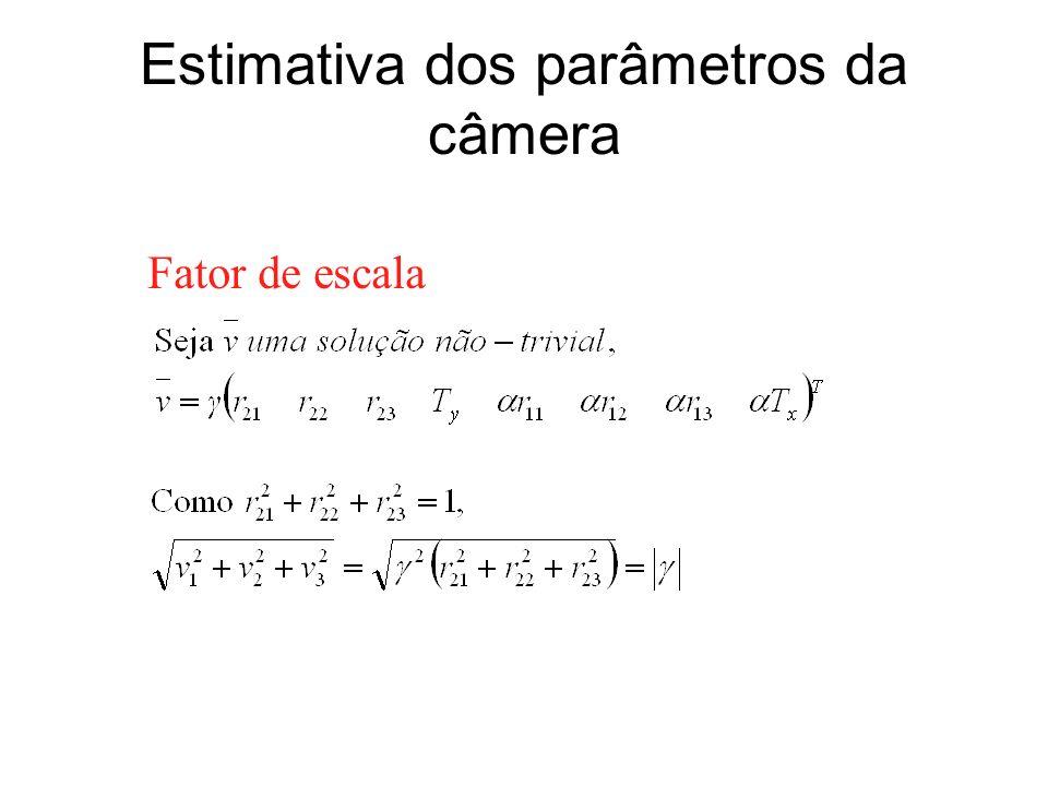 Estimativa dos parâmetros da câmera Fator de escala