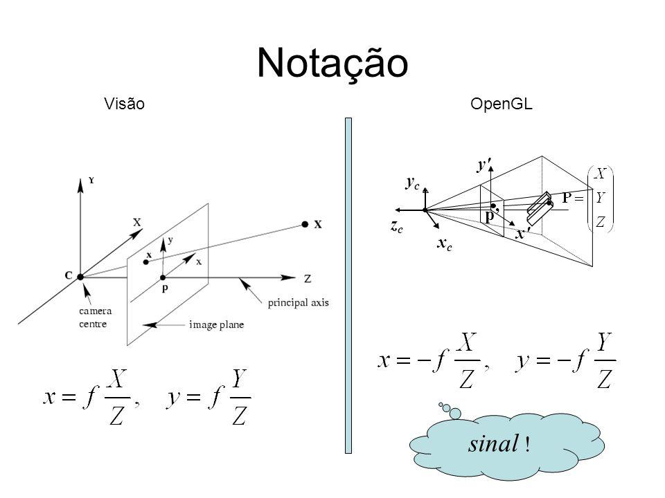 Notação xcxc ycyc zczc p y' x' sinal ! OpenGLVisão