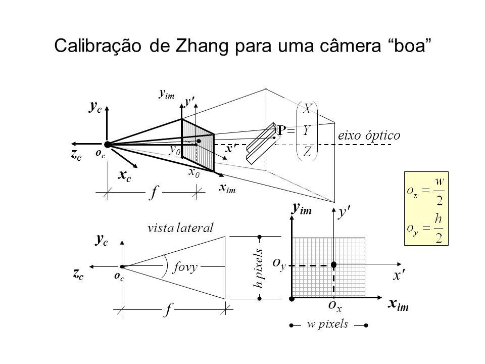 Calibração de Zhang para uma câmera boa y im f x im ycyc vista lateral ococ zczc f fovy oyoy x im y im h pixels oxox ococ eixo óptico x0x0 y0y0 ycyc xcxc zczc y x w pixels x y