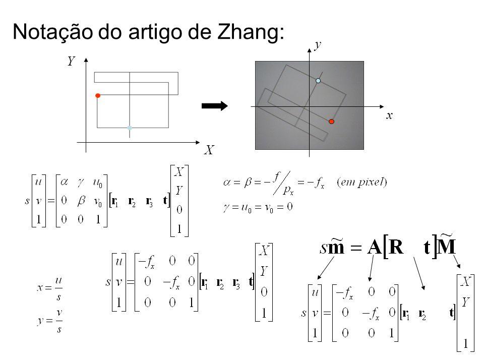 Notação do artigo de Zhang: X Y x y