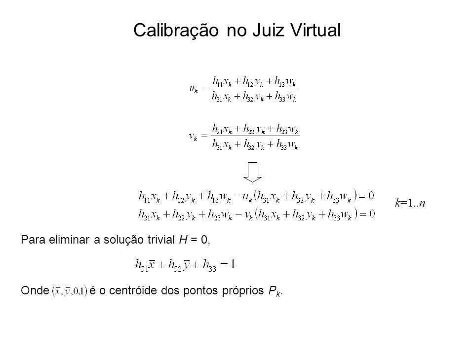 Onde é o centróide dos pontos próprios P k. Calibração no Juiz Virtual k=1..n Para eliminar a solução trivial H = 0,