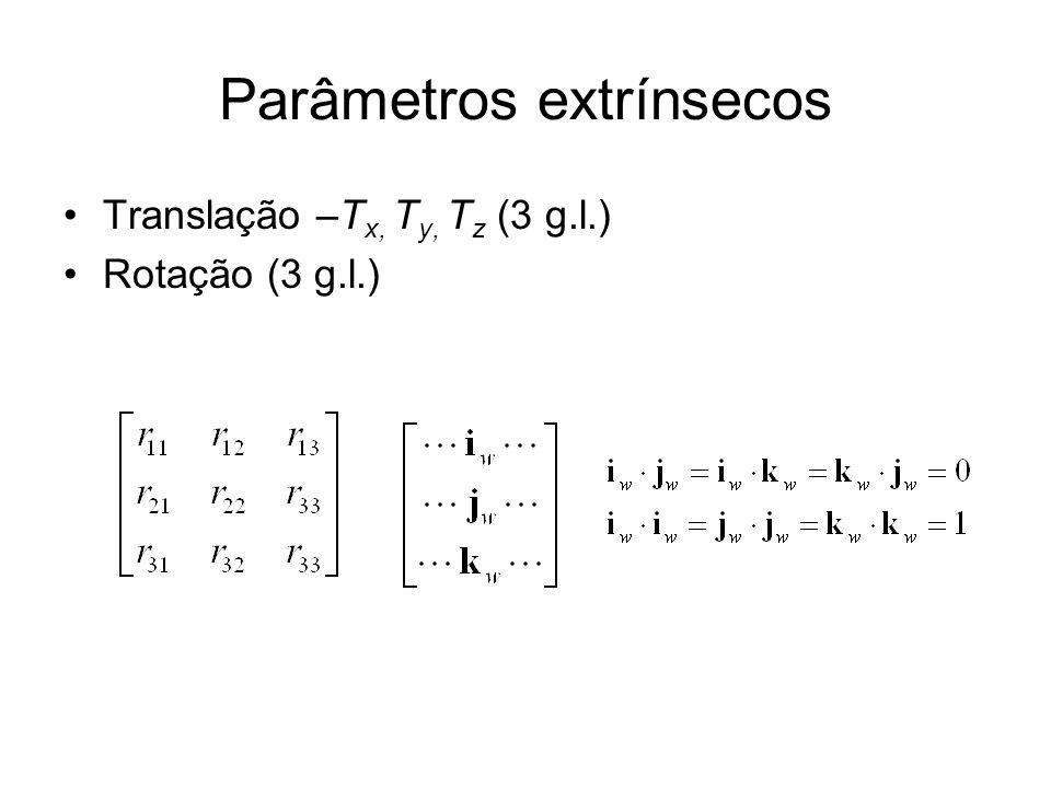 Parâmetros extrínsecos Translação –T x, T y, T z (3 g.l.) Rotação (3 g.l.)