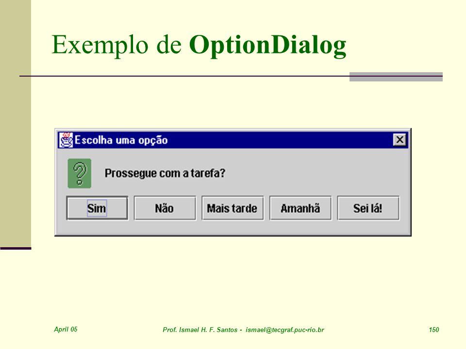 April 05 Prof. Ismael H. F. Santos - ismael@tecgraf.puc-rio.br 150 Exemplo de OptionDialog