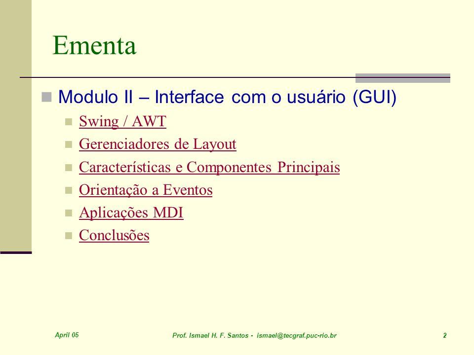 April 05 Prof. Ismael H. F. Santos - ismael@tecgraf.puc-rio.br 113 Aplicações MDI POO-Java