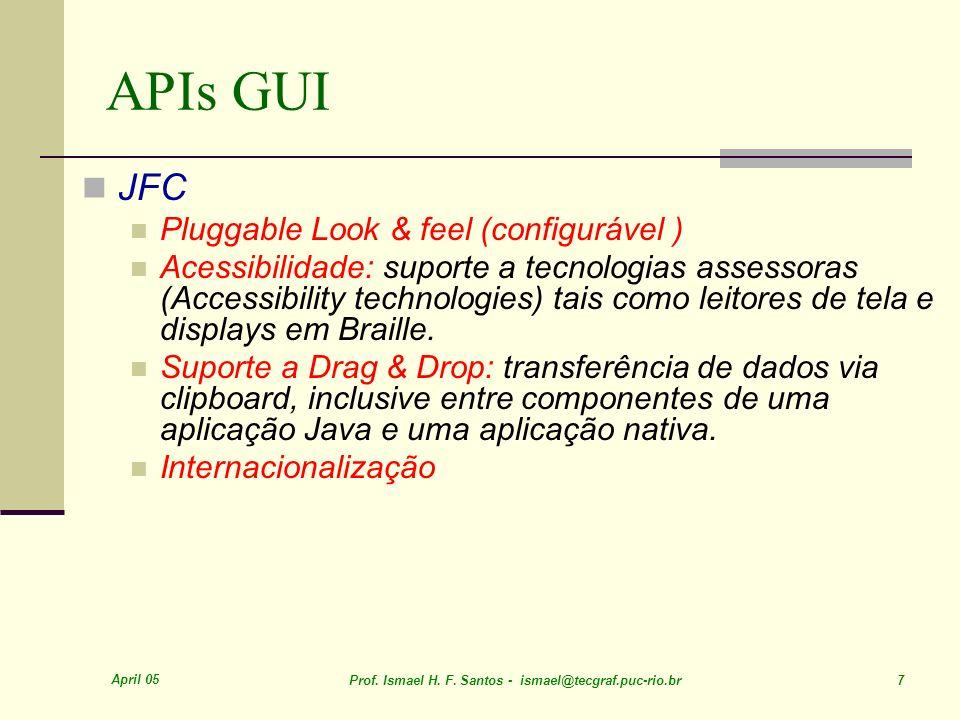 April 05 Prof. Ismael H. F. Santos - ismael@tecgraf.puc-rio.br 18 Java Look and Feel