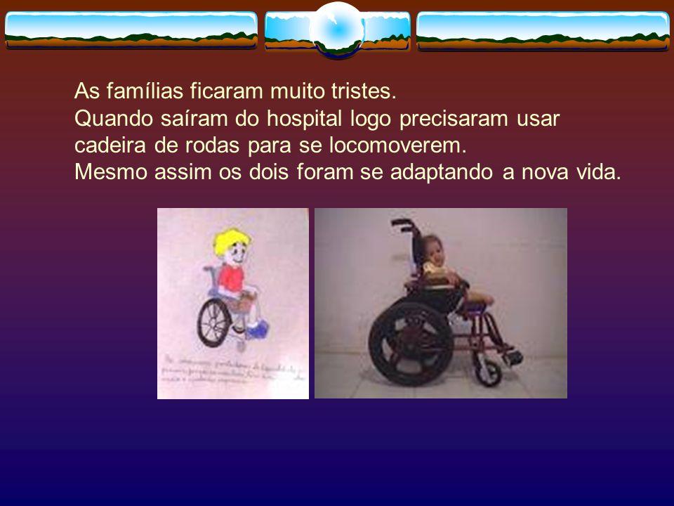 As famílias ficaram muito tristes. Quando saíram do hospital logo precisaram usar cadeira de rodas para se locomoverem. Mesmo assim os dois foram se a