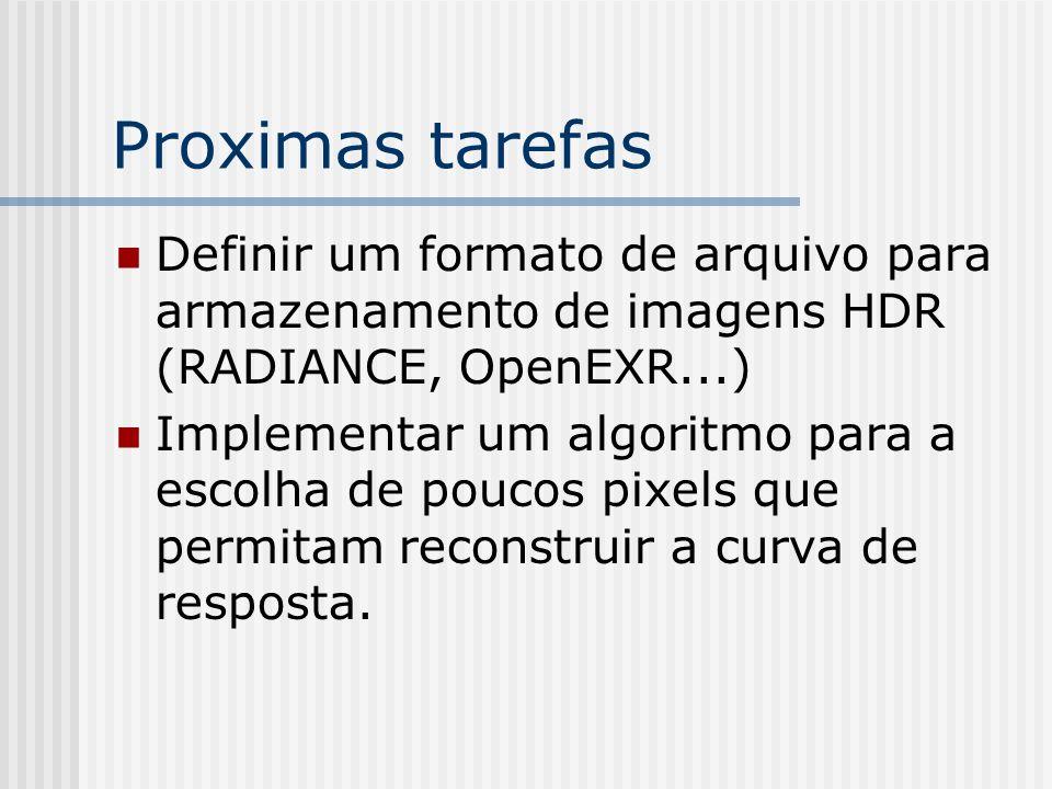 Proximas tarefas Definir um formato de arquivo para armazenamento de imagens HDR (RADIANCE, OpenEXR...) Implementar um algoritmo para a escolha de poucos pixels que permitam reconstruir a curva de resposta.