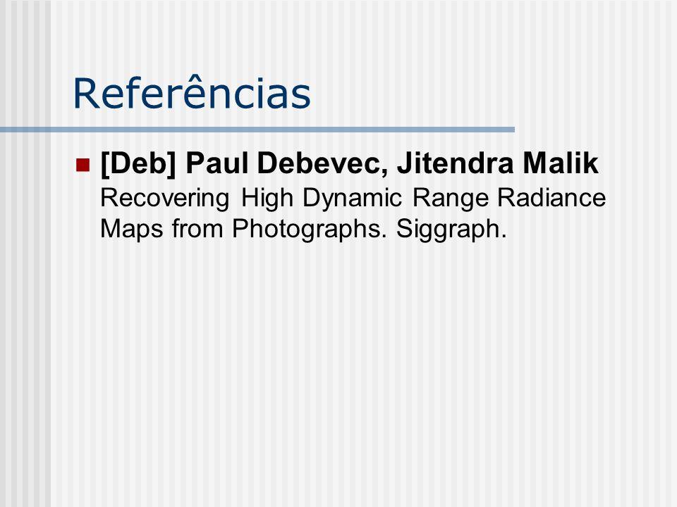 Referências [Deb] Paul Debevec, Jitendra Malik Recovering High Dynamic Range Radiance Maps from Photographs. Siggraph.