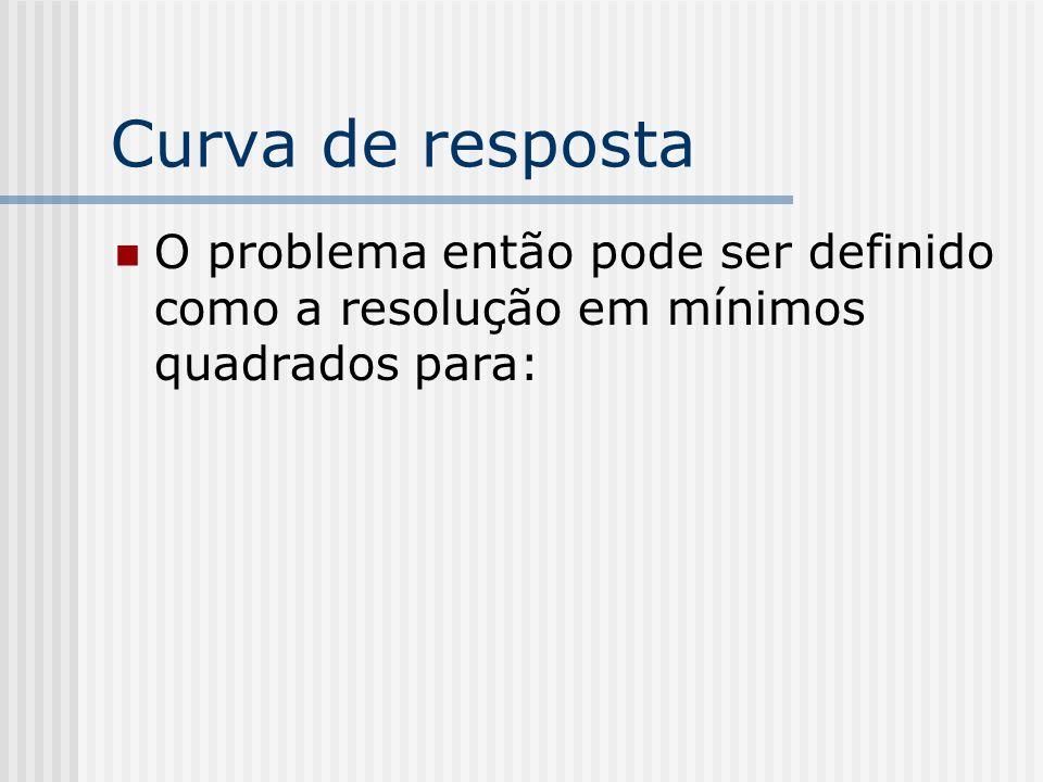 Curva de resposta O problema então pode ser definido como a resolução em mínimos quadrados para: